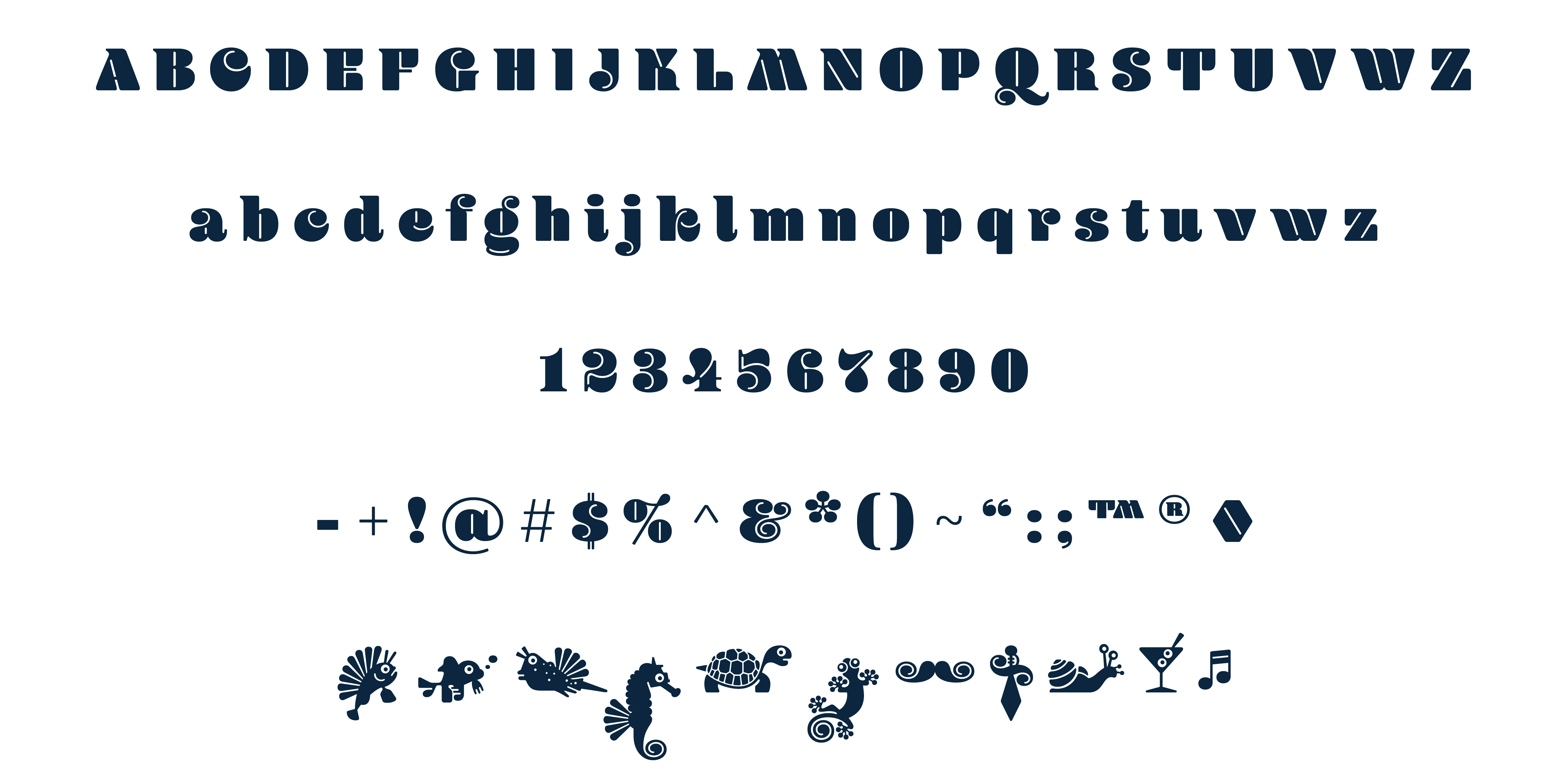Blenny typeface typed out as the alphabet, numbers 0 to 9, and assorted glyphs in a dark blue.