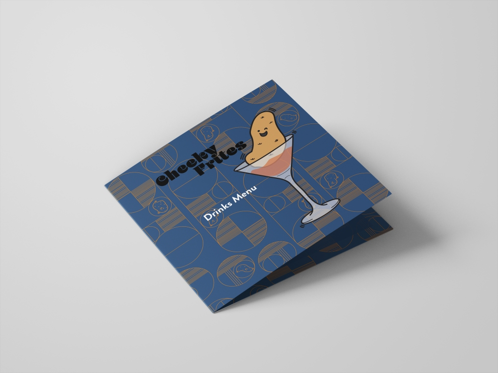 """A Drinks menu on a grey background. The menu front says """"Cheeky Frites Drinks Menu"""". A smiling potato is sitting in a martini glass on the front. The menu is dark blue and orange."""